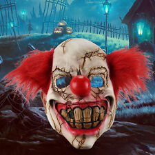 Deluxe Scary Clown Mask Adult Men Latex with Red Hair Halloween Evil Killer CADD