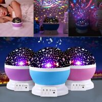 3 Color LED Rotating Projector Night Light Baby Kids Bedroom Sleeping Lamp UK