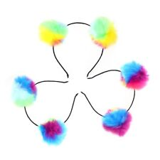 3pcs Girls Headband Pompom Ball Iridescent Fluffy Ball Hair Loop for Women Girls