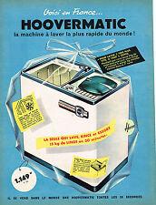 PUBLICITE ADVERTISING 114  1960  HOOVER  lave linge  machine à laver HOOVERMATIC