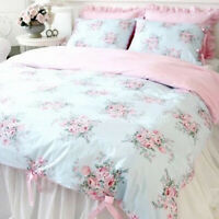 Shabby Chic Cotton Floral Duvet Cover Check Ties Pillowcases Bedding Set Blue