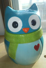 ST. NICHOLAS SQUARE Hand Painted Ceramic OWL COOKIE JAR Turquoise Blue Red Heart