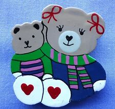38mm Mum & Baby Teddy Hand Painted Craft Button (X 2 buttons)
