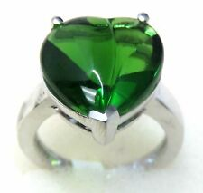#R31515 Big Heart 4.5ct Forest Green Cabochon Helenite 925 Sterling Silver Ring