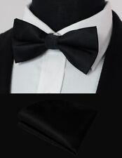 Luxury PreTied Black Tuxedo Bow Tie Silk Plain Clip-On Adjustable FREE Hanky 743