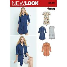 NEW LOOK SEWING PATTERN MISSES' EASY SHIRT DRESS & KNIT DRESS SIZE 8 - 20 6449