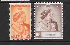1948 KGVI Royal Silver Wedding Set SG333 & SG334 10s. Brown Mint Hinged ZANIBAR