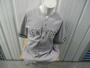 VINTAGE MAJESTIC NEW YORK YANKEES RANDY JOHNSON #41 2XL SEWN AWAY GREY JERSEY