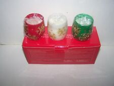 New Avon 2007 Sparkling Snowflakes Icy Lights set of 3 canldes Green Red White