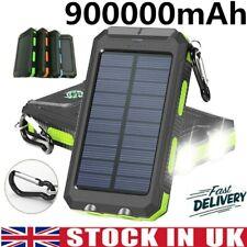 Solar Power Bank 900000mAh Waterproof LED 2USB Travel Solar Battery Charger Pack