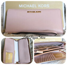 NWT MICHAEL KORS PEBBLED LEATHER JET SET TRAVEL CONTINENTAL WALLET IN BLOSSOM