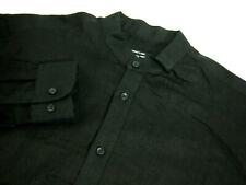 Versace Classic Mens Dress Shirt 15 1/2 Solid Black Banded Collar Button Linen