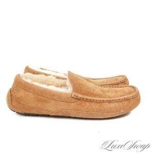 LNWOT Ugg Australia Natural Tan Suede Shearling Fur Lined Loafers Shoes 11 NR