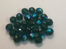 25 10mm Emerald Green AB Faceted Czech Glass Fire Polished Beads