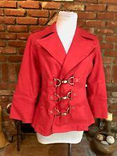 DIANE GILMAN DG2 Red / Brass Hardware Accent Stretch Denim Blazer Jacket XS S M