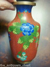 Vintage Chinese Vase Cloisonne Blue Chrysanthemum Flowers on dark red c1920s[11c