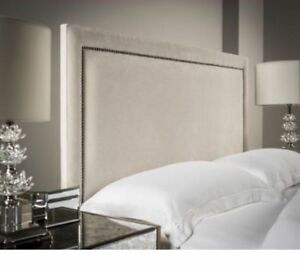 TIFFANY 44 INCH EXTRA TALL Headboard Design in CHENILLE WITH STUDS 3FT, 4FT, 5FT
