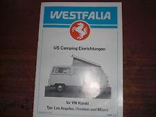 Prospekt Sales Brochure Westfalia Camping VW Kombi Bus Transporter  автомобиль