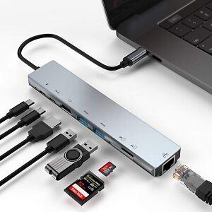 ✅8-IN-1 Multiport USB 3.0 TYP-C Kartenleser LAN Adapter 4K HDMI Splitter Laptop✅