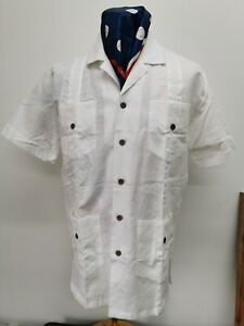 Dead Stock/Unworn Linen Guayabera Short Sleeve Shirt Size  Large