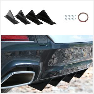 4pcs Black Triangle Mini Rear Spoiler Kits Fit For Car Rear Body Bumper Lower