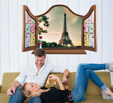 3D Window Paris Home Bedroom Decor Removable Wall Stickers Decal Decoration