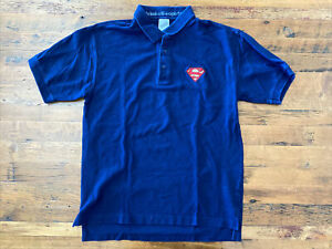 Warner Bros Superman Mens Medium Short Sleeve Navy Blue Polo Shirt 100% Cotton