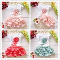 Kids Baby Girls Toddler T-shirt Tops + Skirt Tutu Dress 2PCS Set Outfits Clothes