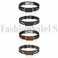 Men Leather Wrap Wood Charm Bracelet Handmade Wristband Bangle Metal Buckle Gift