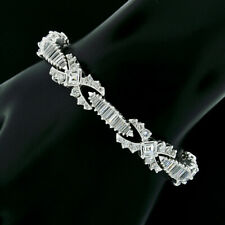 Platinum 10.86ct Round Baguette Square E VVS Diamond Statement Tennis Bracelet