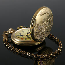 Hand-winding Classic Retro Chain Luxury Mens Pocket Watch Mechanical Bronze Case