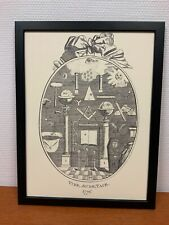 Framed engraving 30x40 cm Freemason Vrijmetselarij Vide, Aude, Tace