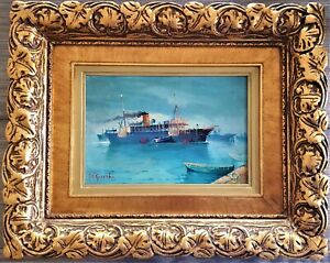 """Antique Oil Painting 19th century """"Ship in a Harbor"""""""