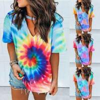 Womens Tie Dye V Neck Tops Blouse Summer Short Sleeve Loose T-Shirts Plus Size G