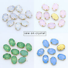 Oval opal color crystal beads sew on glass rhinestone Garment Jewelry gold plate
