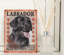 Black Labrador Retro Hanging Plaque breed Characteristics style metal dog Sign
