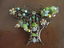 vintage antique BUTTERFLY PIN BROOCH Iridescent & colored RHINESTONES  C-CLASP