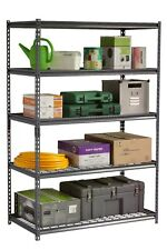 Black 5-Level Shelving with Black Powder Coated Wire Decks 1220 mm wide
