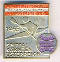 1965 ICF CANOE World Championships PIN Badge Canoeing Slalom SPITTAL Austria