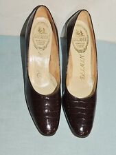 1960's Delman Brown Patent Leather Alligator Shoes / Heels 7 Aaaa
