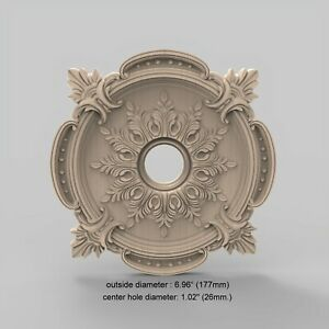 Ceiling Medallion Baroque Vintage Wood Carved Miniature Rosette Mold Ornament