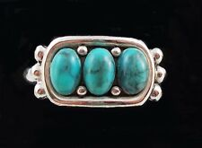 Vintage UNISEX AVON TURQUOISE DESIGN on Silver Band Ring Size 7.5 T3