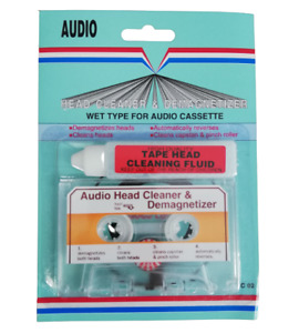 Audio Cassette Head Tape Cleaner with Demagnetized & Cleaning Fluid Wet Dry CarA