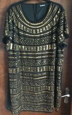 BOOHOO Black and Gold Sequin Dress Size 24