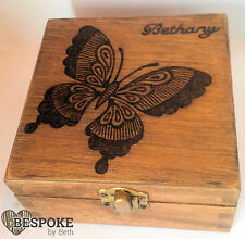 Personalised Wooden Keepsake Memory Box 12cm Burned Butterfly Valentine Gift
