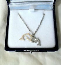 Dolphin Pendant Necklace w/gift box ... 2 Dolphin Pendants on a 20 inch chain