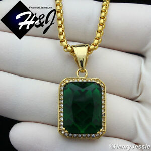 """24""""MEN Stainless Steel 3mm Gold Box Link Chain Necklace BLING Green Pendant*GP98"""