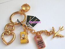 NEW AUTHENTIC RETIRED JUICY COUTURE TRAVEL CHARMS KEY RING KEY FOB BAG RARE