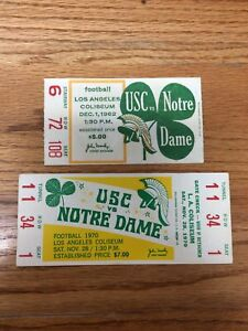 1970 1962 NOTRE DAME FOOTBALL VS SOUTHERN CALIFORNIA FOOTBALL FULL TICKET STUB