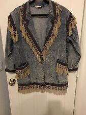 Indian Hand Beaded Jean Jacket With Suede Fringe Joyce  Designs One Size Vintage